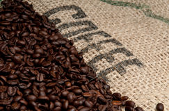 Coffee Beans and Burlap Background Royalty Free Stock Image