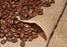 Coffee beans on burlap Royalty Free Stock Photo