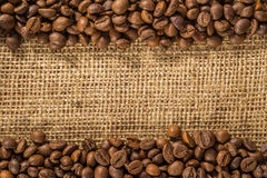 Coffee beans and Burlap Royalty Free Stock Images