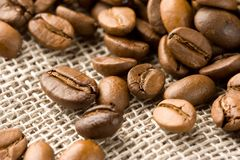 Coffee beans on a burlap bag Stock Images