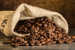 Coffee beans within a burlap bag. Some coffee beans within a burlap bag Stock Images