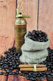 Coffee beans in burlap bag, vintage grinder and c Stock Photo
