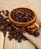 Coffee beans and burlap fabric Stock Photo