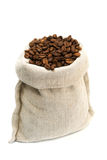 Coffee beans and burlap sack Royalty Free Stock Photography