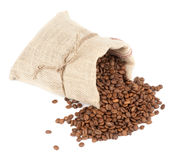 Coffee beans and burlap sack Stock Photos