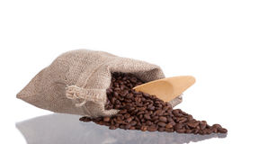 Coffee beans in burlap sack Royalty Free Stock Photo