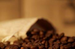 Coffee beans in burlap sack. Fresh raw coffee beans in burlap sack Stock Photography