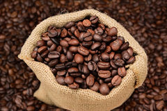 Coffee Beans Burlap Sack Royalty Free Stock Images