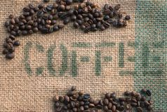 Coffee Beans on a Burlap Sack II Stock Photo