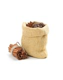 Coffee beans in burlap sack. Isolated on white Stock Photo