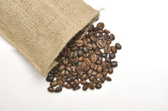 Coffee Beans In Burlap Sack Stock Images