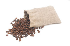 Coffee beans and burlap sack Royalty Free Stock Images
