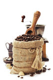 Coffee beans in burlap sack Royalty Free Stock Photos