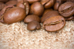 Coffee beans on the burlap texture Stock Photography