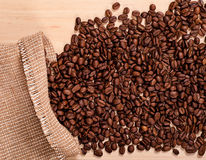 Coffee beans and burlap Royalty Free Stock Photos