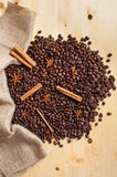 Coffee beans in burlap stock photography