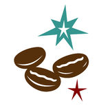 Coffee beans burst of freshness. Coffee bean grouping, illustration with burst of freshness Stock Photo