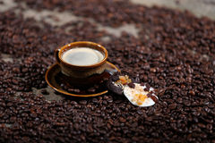 Coffee beans and cakes. Coffee beans in a coffee cup and some cake, one biscuit Stock Photos