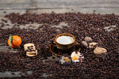 Coffee beans and cakes. Coffee beans in a coffee cup and some cake, one macaron cake Stock Images