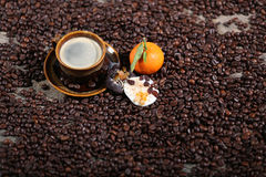 Coffee beans and cakes Stock Images