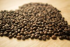 Coffee Beans in a Camera Focus Phoot Royalty Free Stock Photo