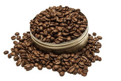 Coffee beans in can Stock Image