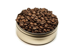 Coffee beans in can Royalty Free Stock Images