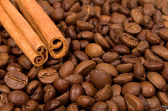 Coffee beans and canella sticks Stock Photo