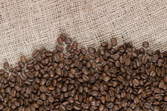 Coffee beans and canvas Royalty Free Stock Photo