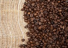 Coffee beans on a canvas Royalty Free Stock Photography