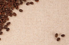 Coffee beans on canvas. A background with coffee beans on canvas Royalty Free Stock Photography