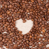 Coffee beans on the canvas Royalty Free Stock Image