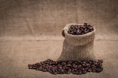 Coffee beans. In a canvas bag Royalty Free Stock Photography