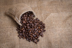 Coffee beans. In a canvas bag Stock Photo