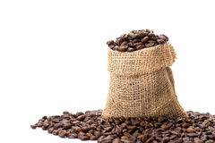 Coffee beans. In a canvas bag Royalty Free Stock Images