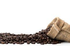 Coffee beans. In a canvas bag Stock Photos