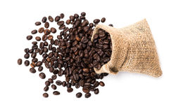 Coffee beans. In a canvas bag Stock Images