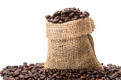 Coffee beans. In a canvas bag Stock Image