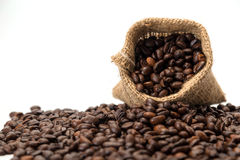 Coffee beans. In a canvas bag Royalty Free Stock Photo