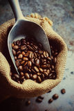 Coffee Beans in a Canvas Bag Stock Photo
