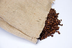 Coffee Beans with Canvas Bag and. Coffee Cup Isolated on White Background Stock Photography
