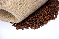 Coffee Beans with Canvas Bag. Coffee Beans with Handmade Bag Made of Yucca Isolated ,white background Royalty Free Stock Image