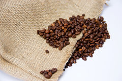 Coffee Beans with Canvas Bag. Isolated on White Background Royalty Free Stock Images