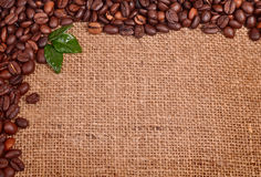 Coffee beans on canvas Royalty Free Stock Photography