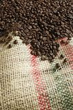 Coffee beans on canvas sack Royalty Free Stock Photography