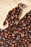 Coffee beans in canvas sack Royalty Free Stock Photography