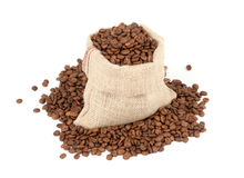 Coffee beans in canvas sack Stock Image