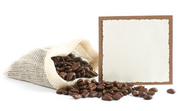 Coffee beans in canvas sack Royalty Free Stock Photo