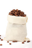 Coffee beans in canvas sack Royalty Free Stock Image