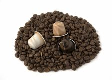 Coffee Beans and Capsule Isolated on White Background Stock Photo